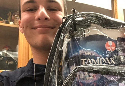 A Parkland student filled his clear backpack with tampons to make an important point about period discrimination