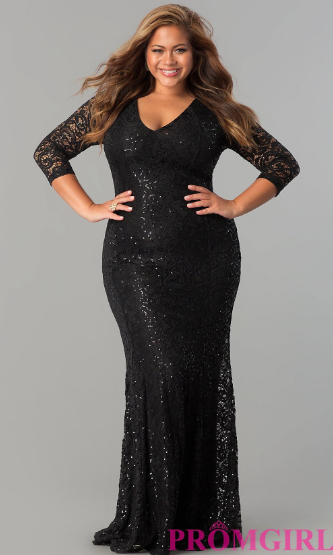 143 4 Sleeve V-Neck Plus-Size Formal Dress at PromGirl 6f69a11bc