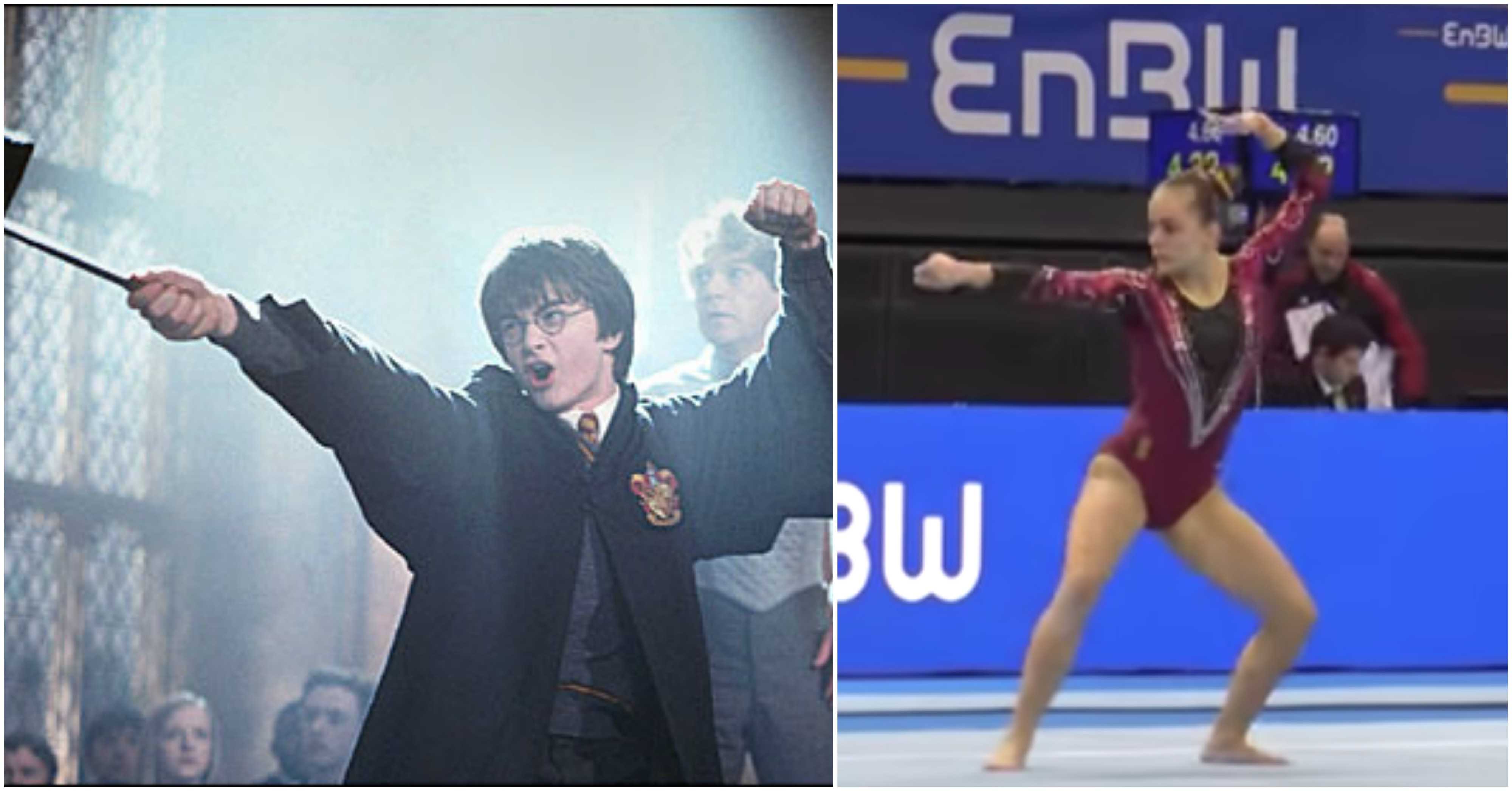 This gymnast's <em>Harry Potter</em> routine is knocking our Hogwarts house socks off