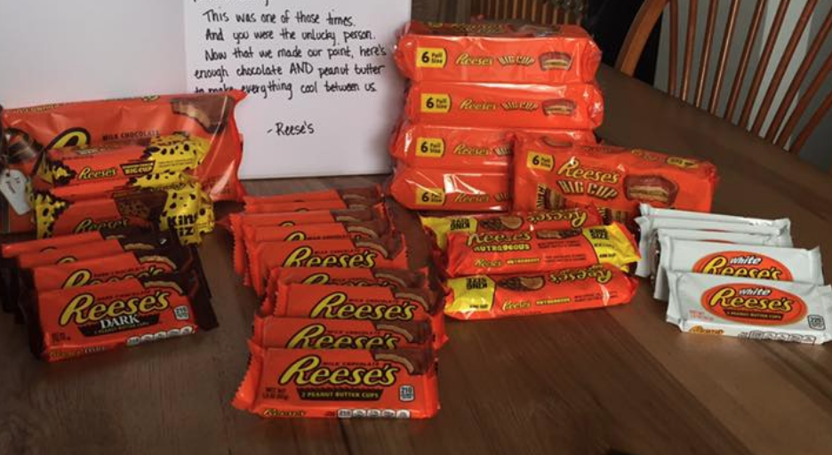 Reese's sent this guy a mountain of free candy and a handwritten note after he complained about a peanut butter cup