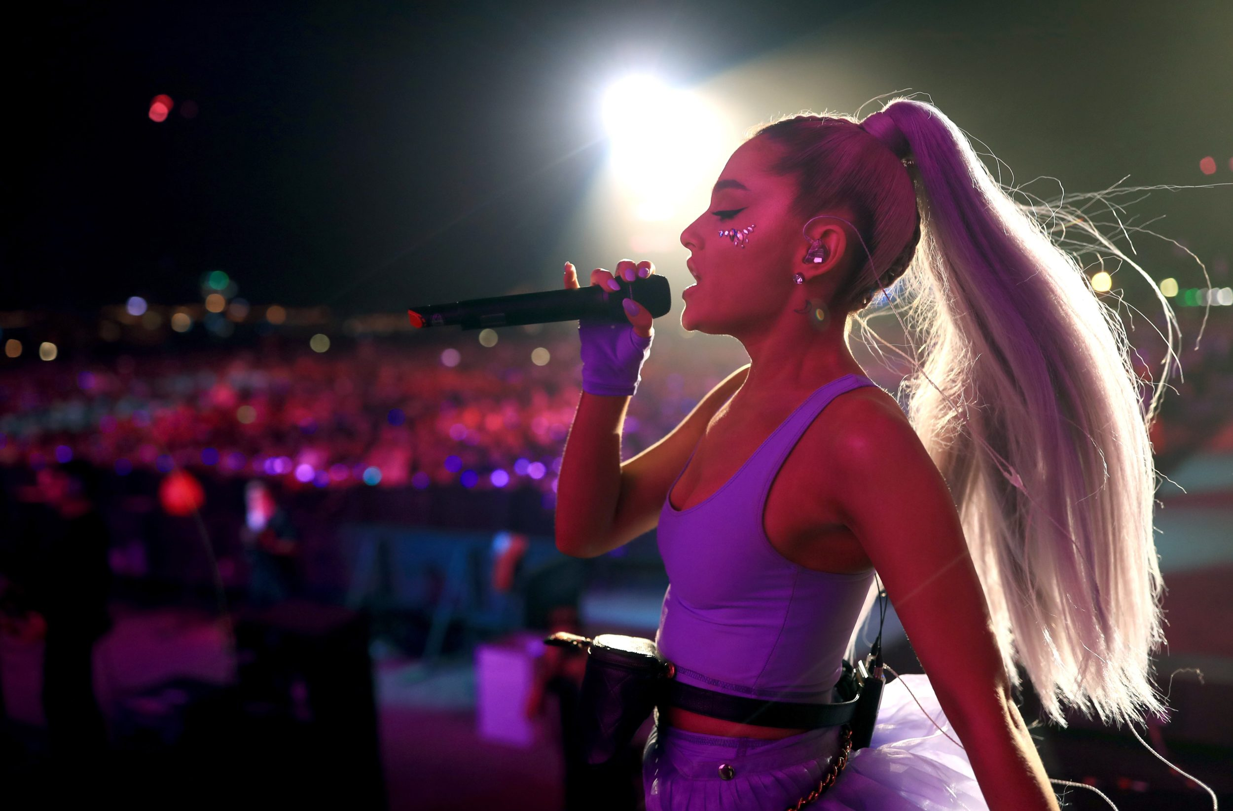 Ariana Grande surprised Coachella festival-goers with a live debut of new single <em>No Tears Left to Cry</em>