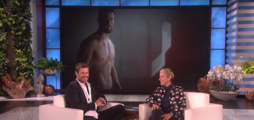 Ellen DeGeneres made a montage of Chris Hemsworth's best Marvel moments — and he happens to be shirtless in *all* of them