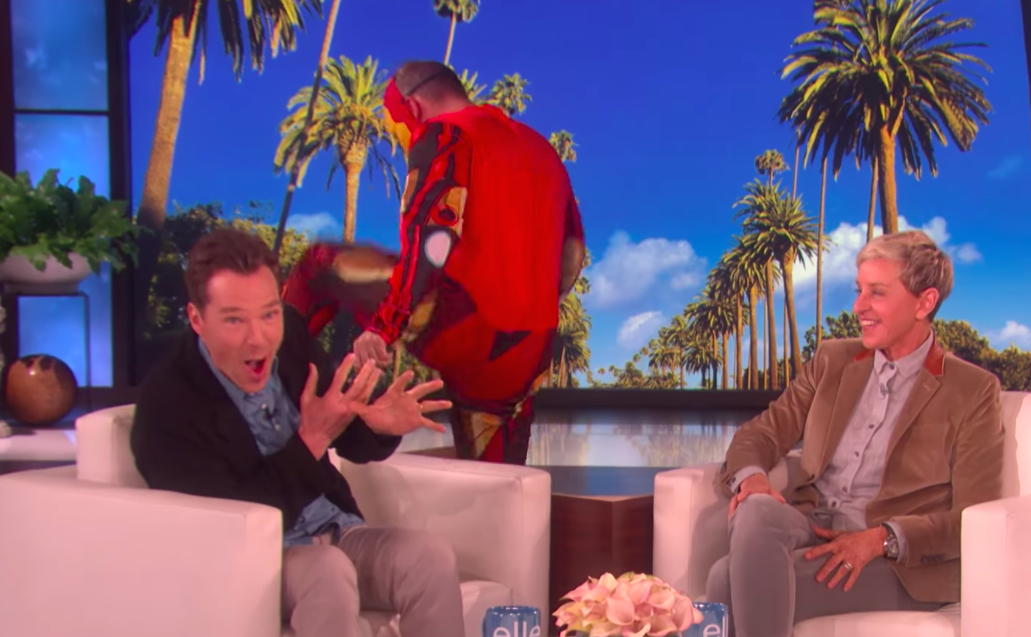 Watch Ellen DeGeneres scare the bejeezus out of Benedict Cumberbatch with a giant Iron Man