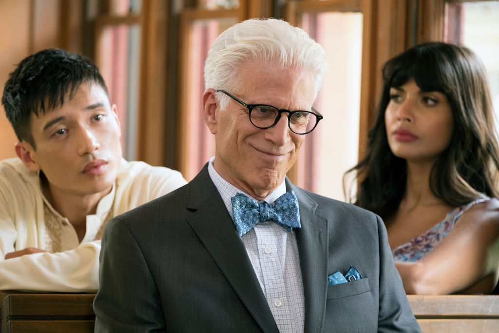 Ted Danson was so excited about THAT <em>Good Place</em> twist that he told everyone who would listen, including John Krasinski