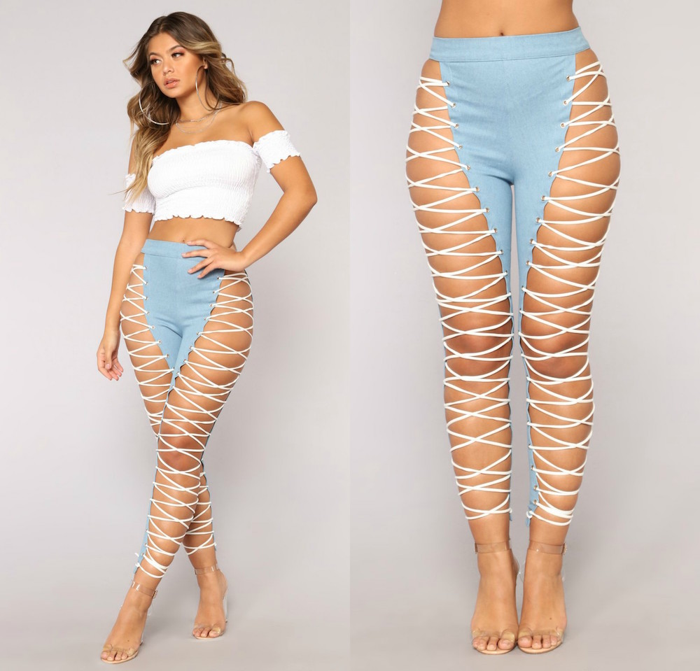 a1fe16e25de Fashion Nova Sells Extreme Lace-Up Jeans - HelloGiggles