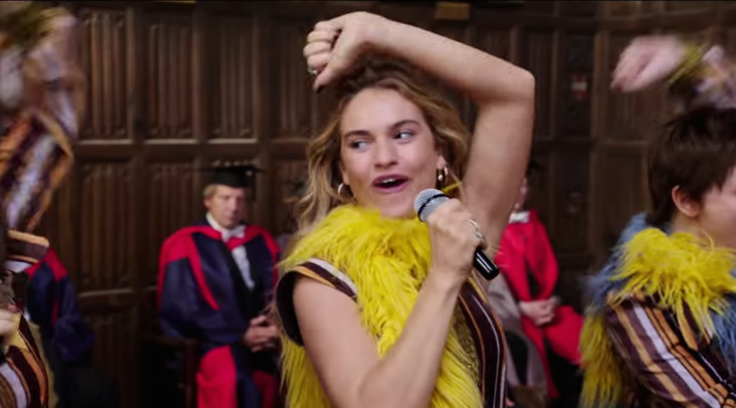 Lily James absolutely belts her heart out in the first music video for <em>Mamma Mia!</em>