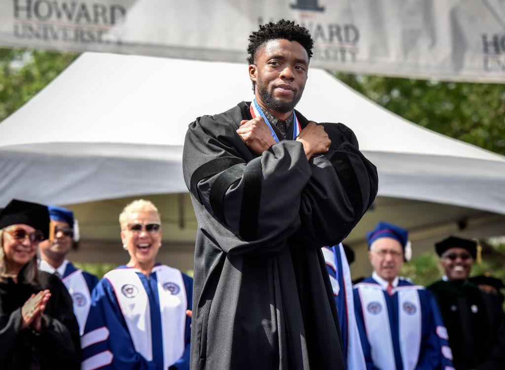 "Chadwick Boseman gave the ""Wakanda forever"" salute before delivering an inspiring commencement speech at Howard University"