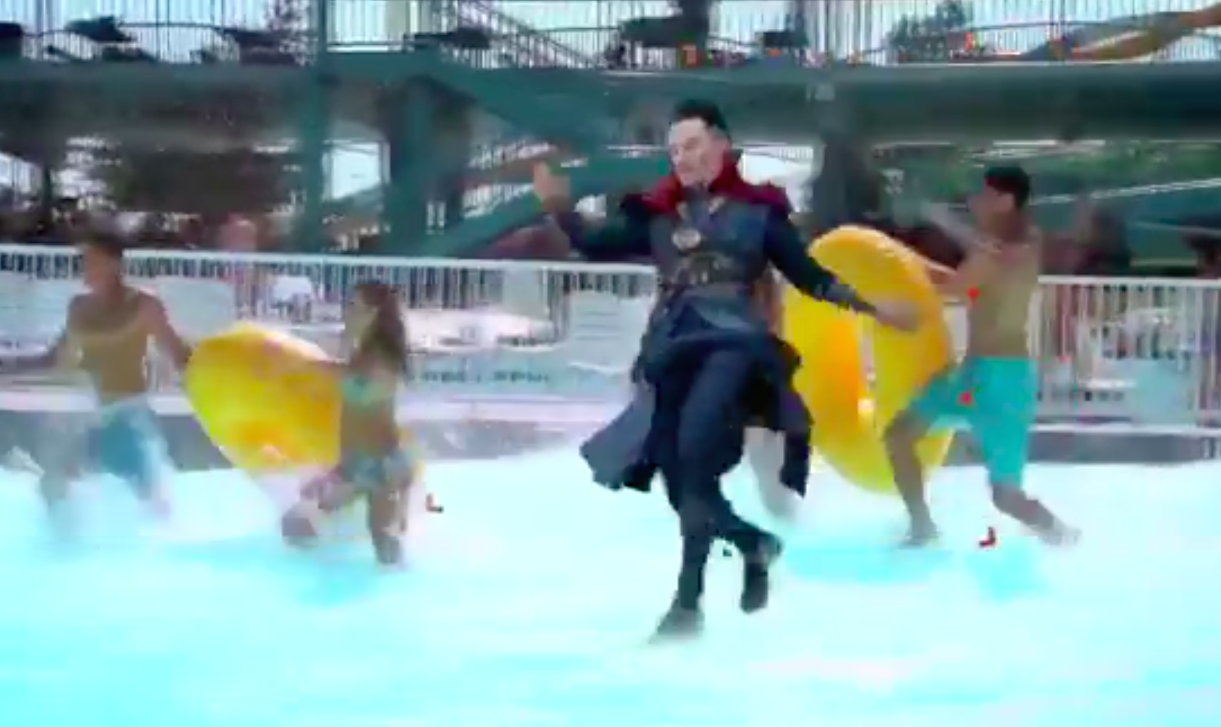 Someone edited a bunch of green screen footage of Doctor Strange into a water park, and it's pure gold