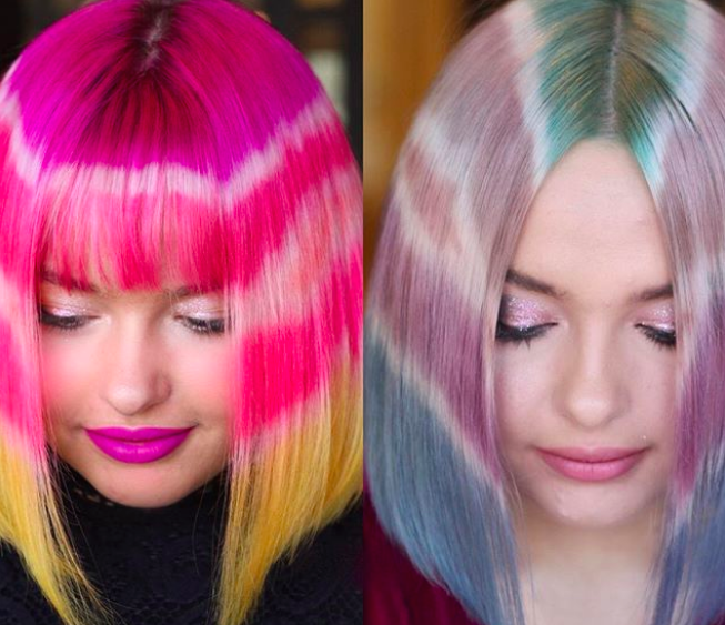 This tie-dye hippie hair trend looks exactly like your brother's T-shirt in high school