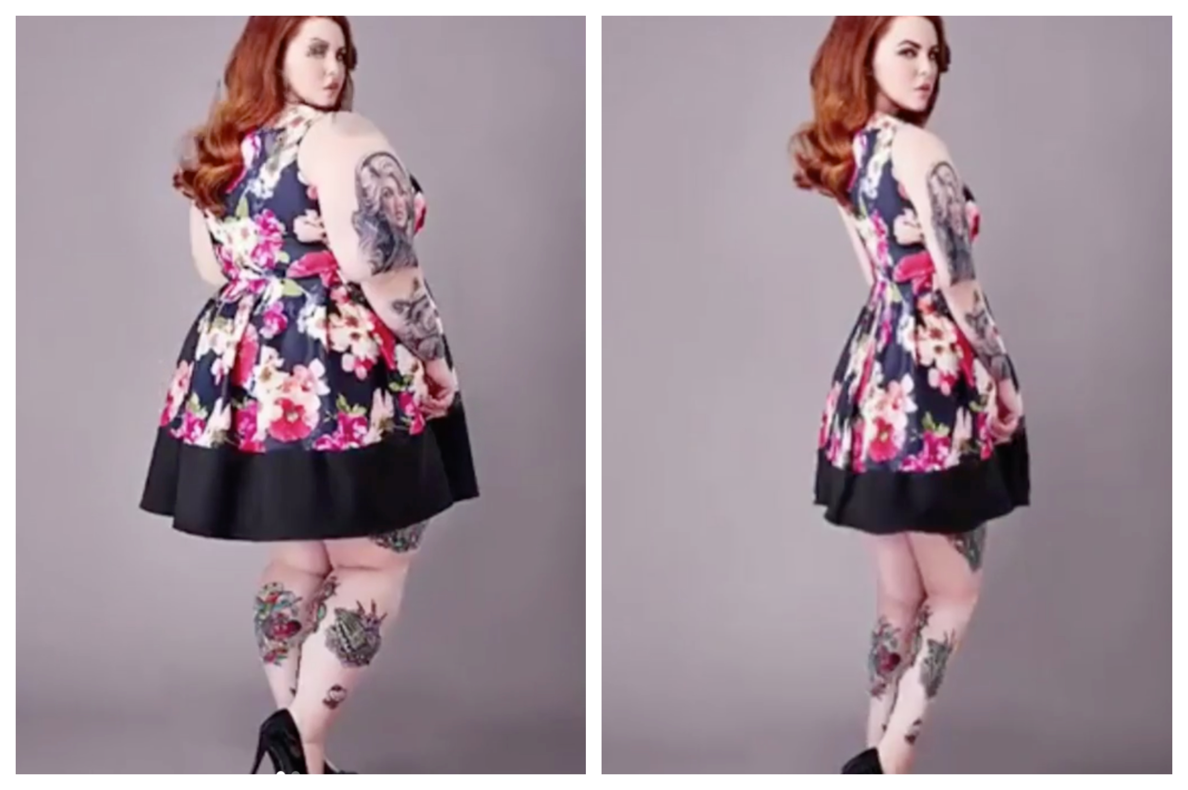 "Body-positive model Tess Holliday clapped back when a ""slimming"" app stole and altered her photos"