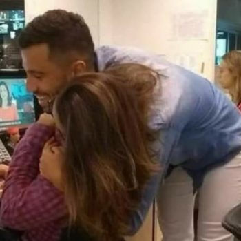 This optical illusion of two people hugging is seriously trippy, and Twitter can't deal