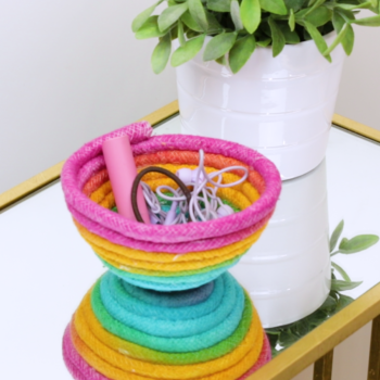 Make your home a unicorn's haven with this DIY rainbow rope bowl