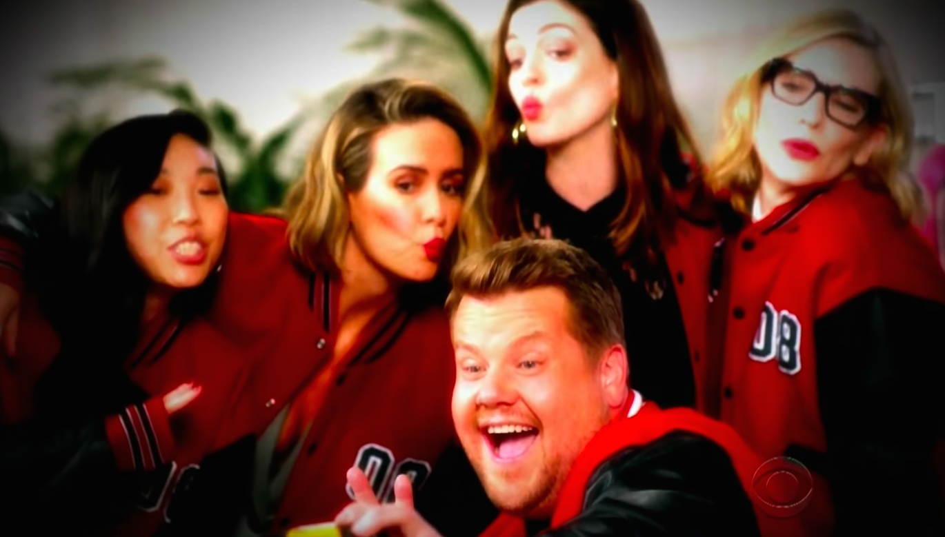 "James Corden can't say goodbye to his <em>Ocean's 8</em> cast members, so he remade Vitamin C's ""Graduation"" video for them"