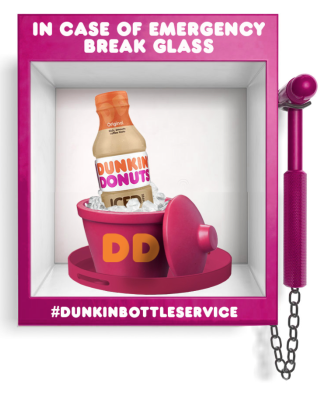 You can push a button on the street to get free iced coffee from Dunkin' Donuts today, and bless