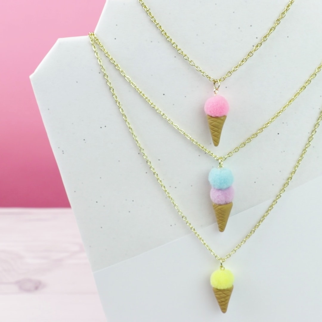 Stress less this summer by wearing these adorable DIY aromatherapy ice cream necklaces
