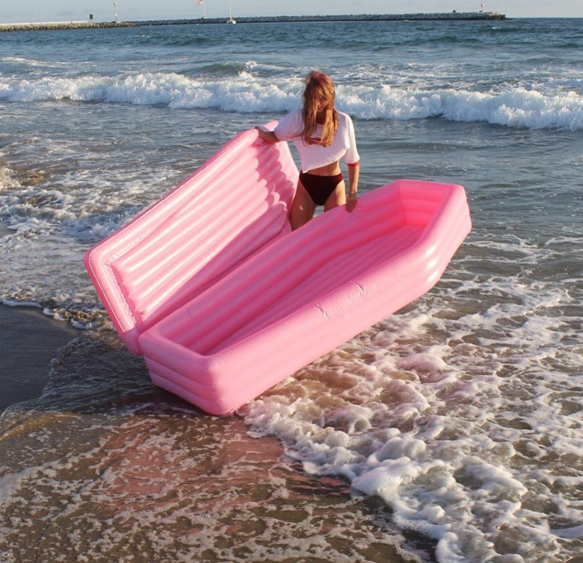 Millennial pink coffin pool floats are a thing, and Twitter is dying over them