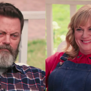 Watch Amy Poehler and Nick Offerman have the most polite pun-off in the history of television