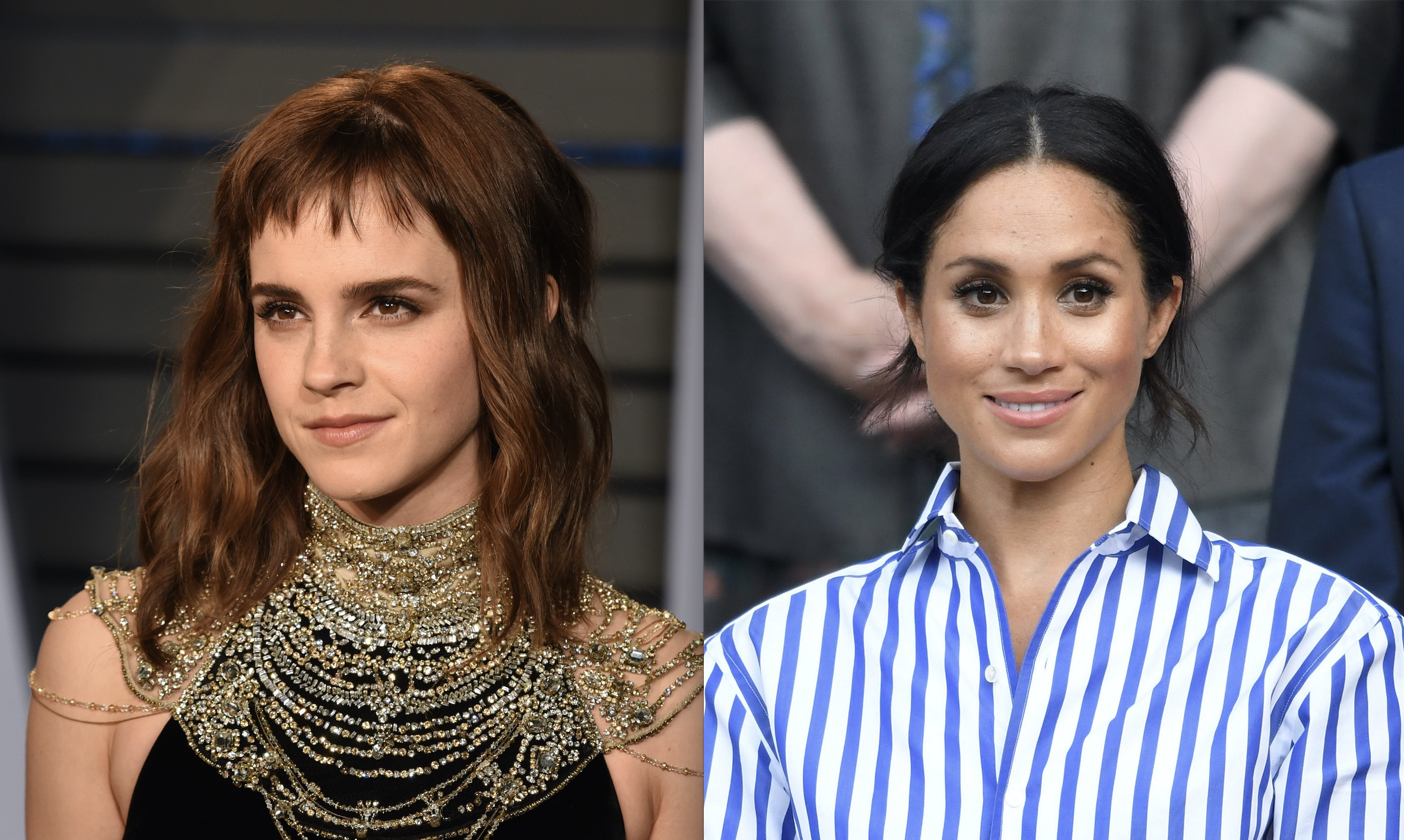 Emma Watson and Meghan Markle twinned yet again in these chic nude dresses