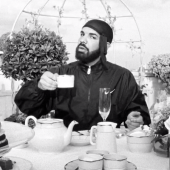 """Drake daintily sipping tea in the new """"Nonstop"""" video is the gift we never knew we needed"""