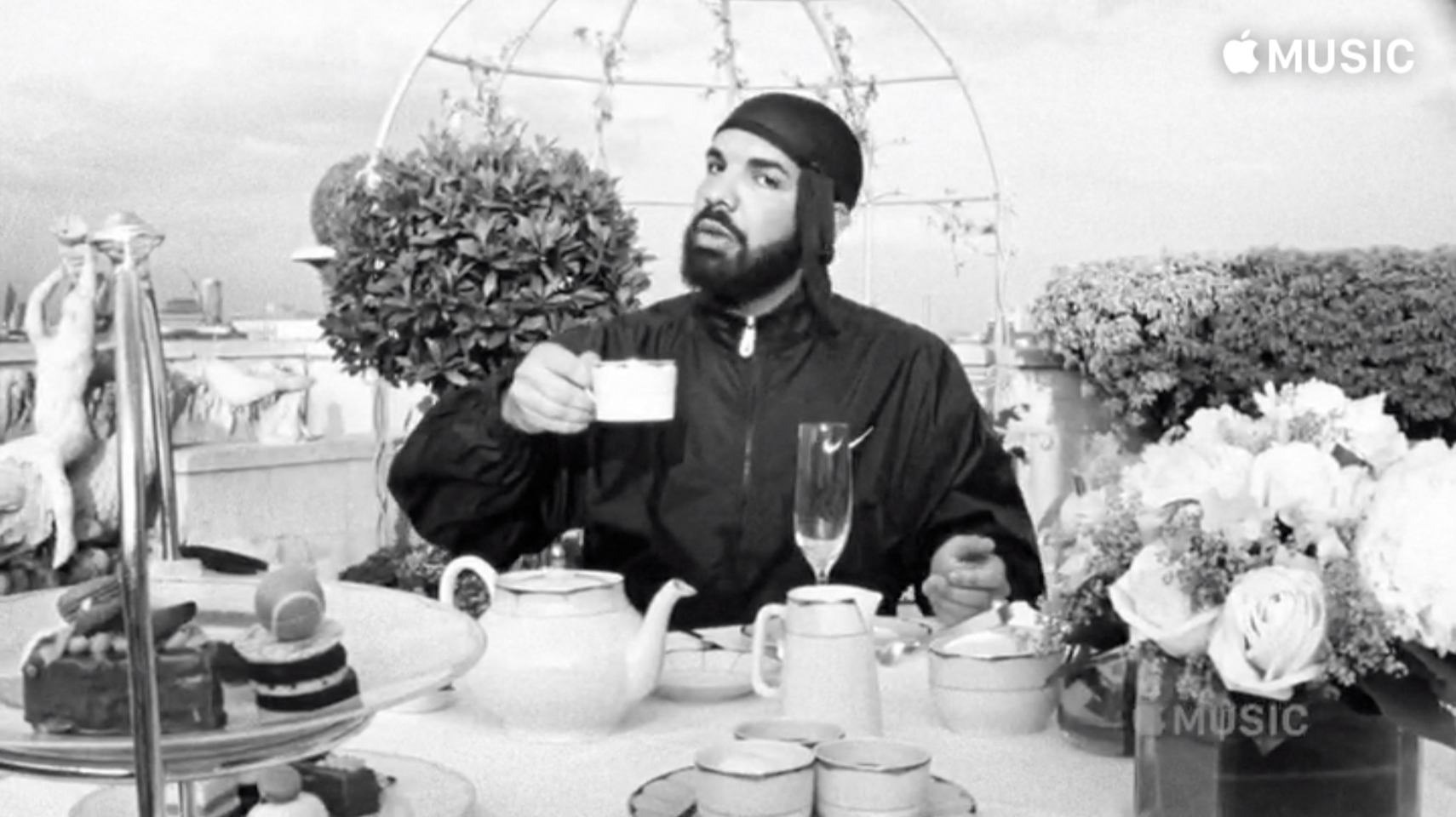 "Drake daintily sipping tea in the new ""Nonstop"" video is the gift we never knew we needed"