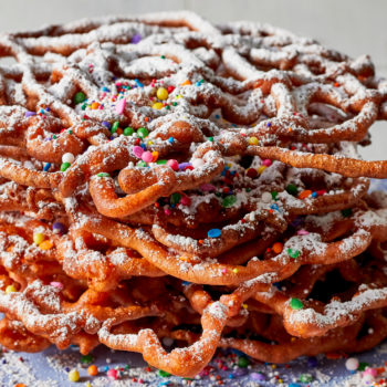 Make your kitchen into the county fair with these rainbow sprinkle funnel cakes