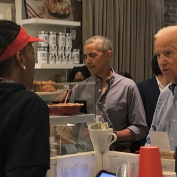 Barack Obama and Joe Biden grabbed lunch at a cafe, and the video of them ordering is #DADGOALS
