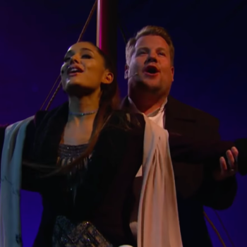 """Ariana Grande and James Corden performed a """"Titanic"""" musical, and we're never letting go of this"""