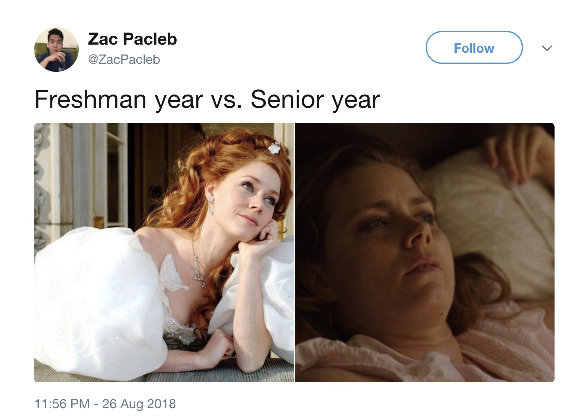 "The internet is sharing insanely relatable ""first day of freshman year"" vs. ""first day of senior year"" college memes"
