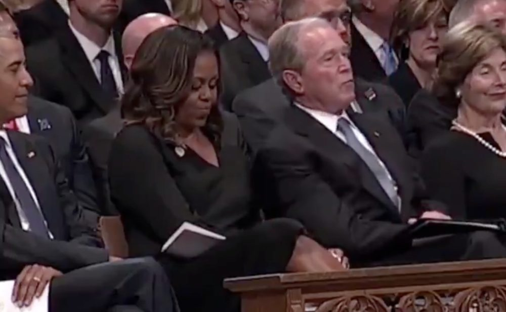 This sweet, subtle moment between George W. Bush and Michelle Obama at John McCain's funeral is going viral