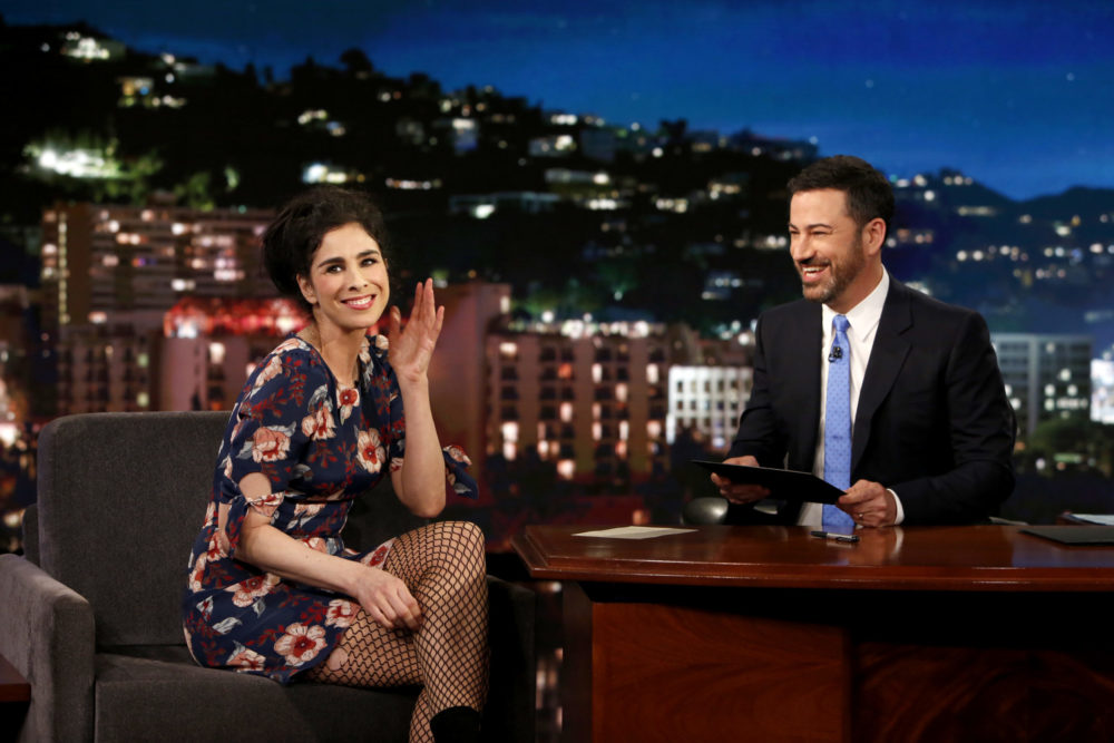 Exes Sarah Silverman and Jimmy Kimmel had the most awkward and relatable exchange on last night's show