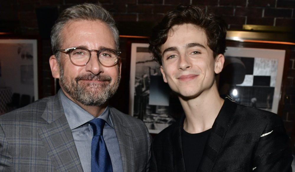 Steve Carell shared a piece of little-known <em>Office </em>trivia at a press event—and Timotheé Chalamet freaked out