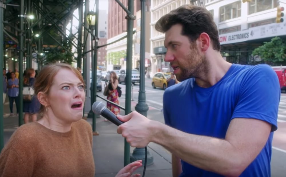 This video of Billy Eichner screaming at Emma Stone about Instagram is a true gift