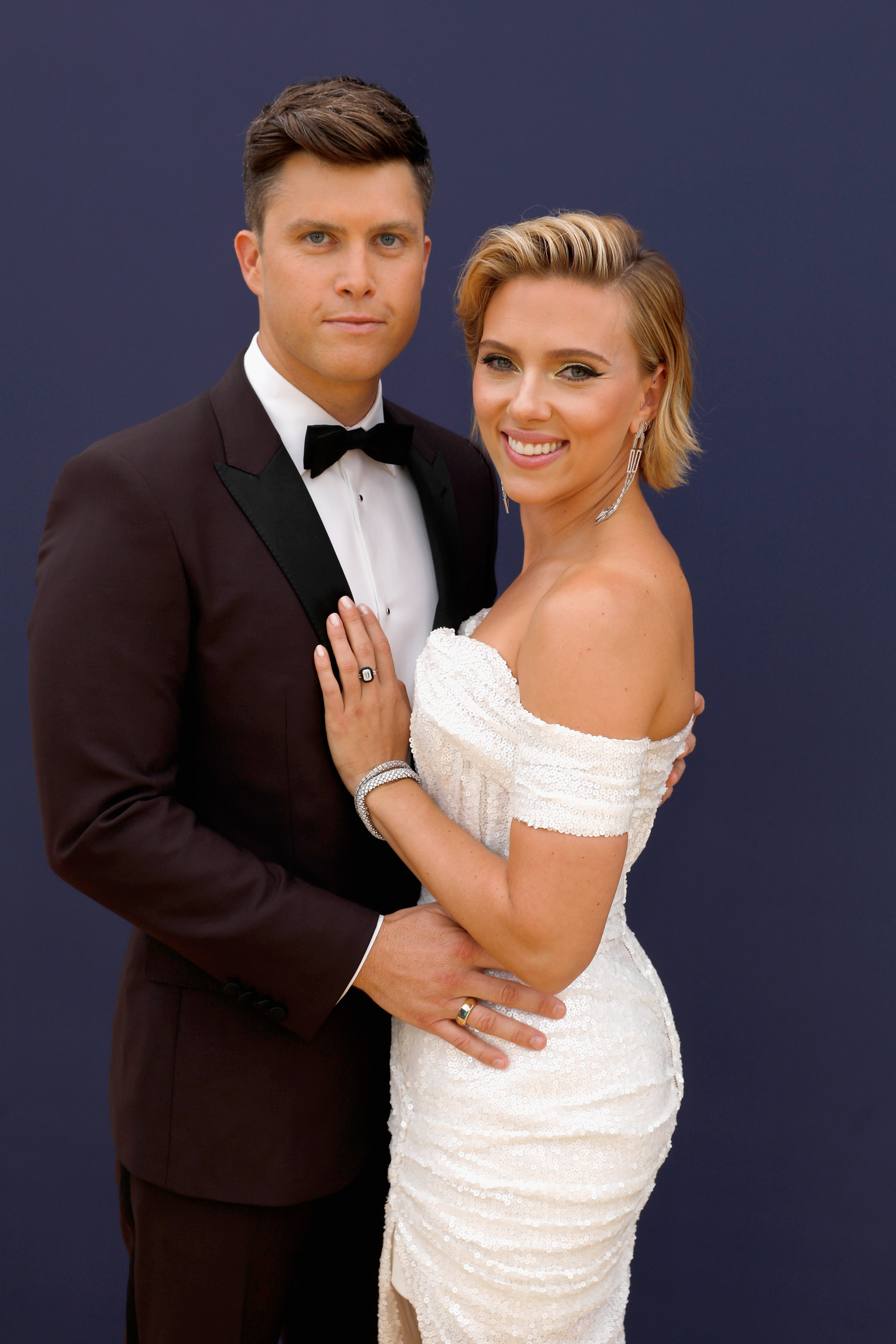 Scarlett Johansson And Colin Jost On Emmys 2018 Red Carpet