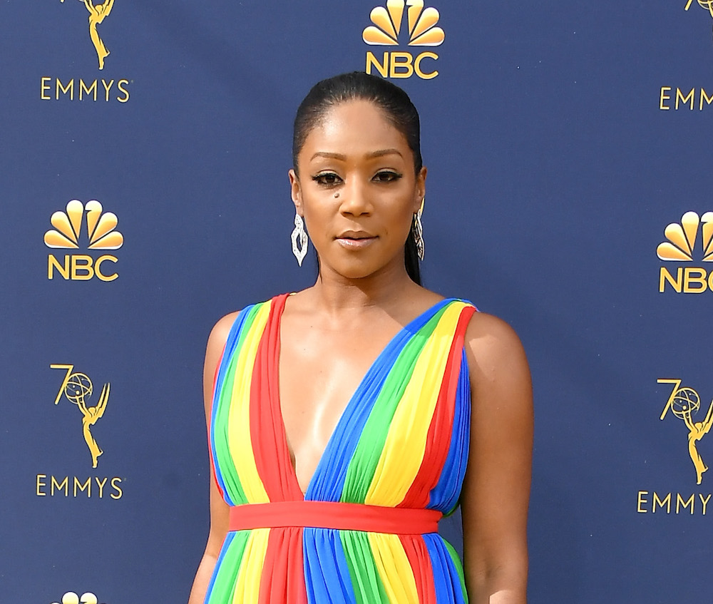 Tiffany Haddish lit up the red carpet in a rainbow-colored dress at the 2018 Emmys