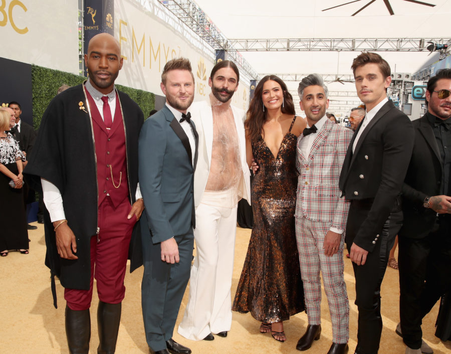 The cast of <em>Queer Eye</em> look like time travelers from different decades at the 2018 Emmys