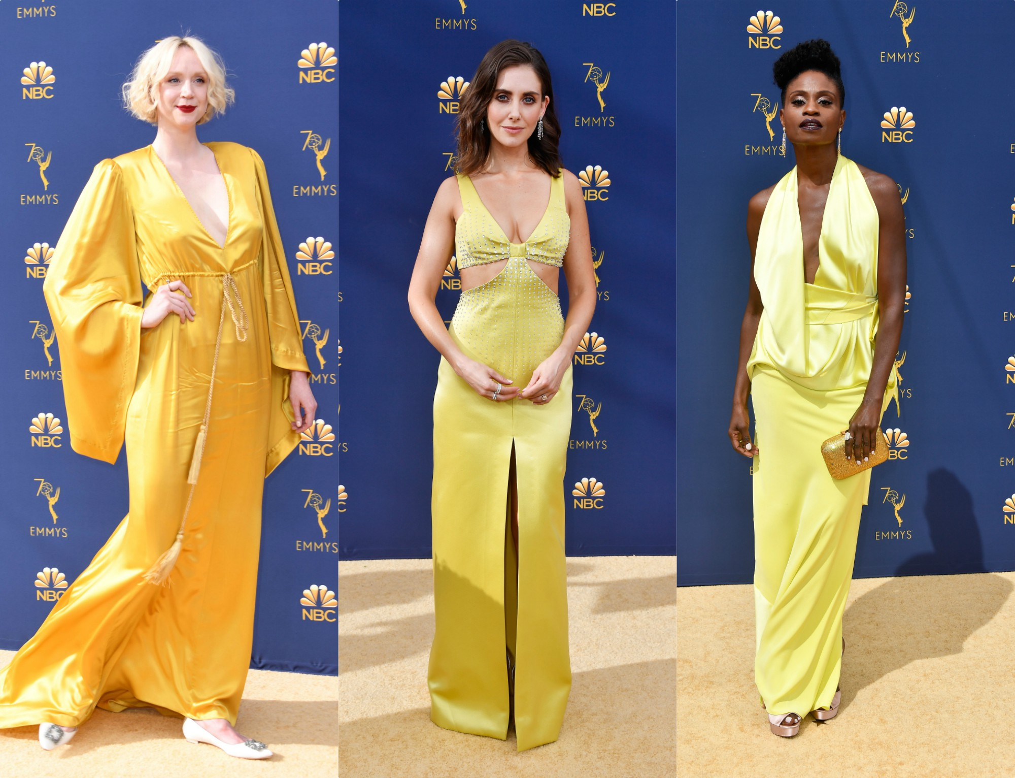 Bright yellow is the biggest red carpet trend at the 2018 Emmy Awards