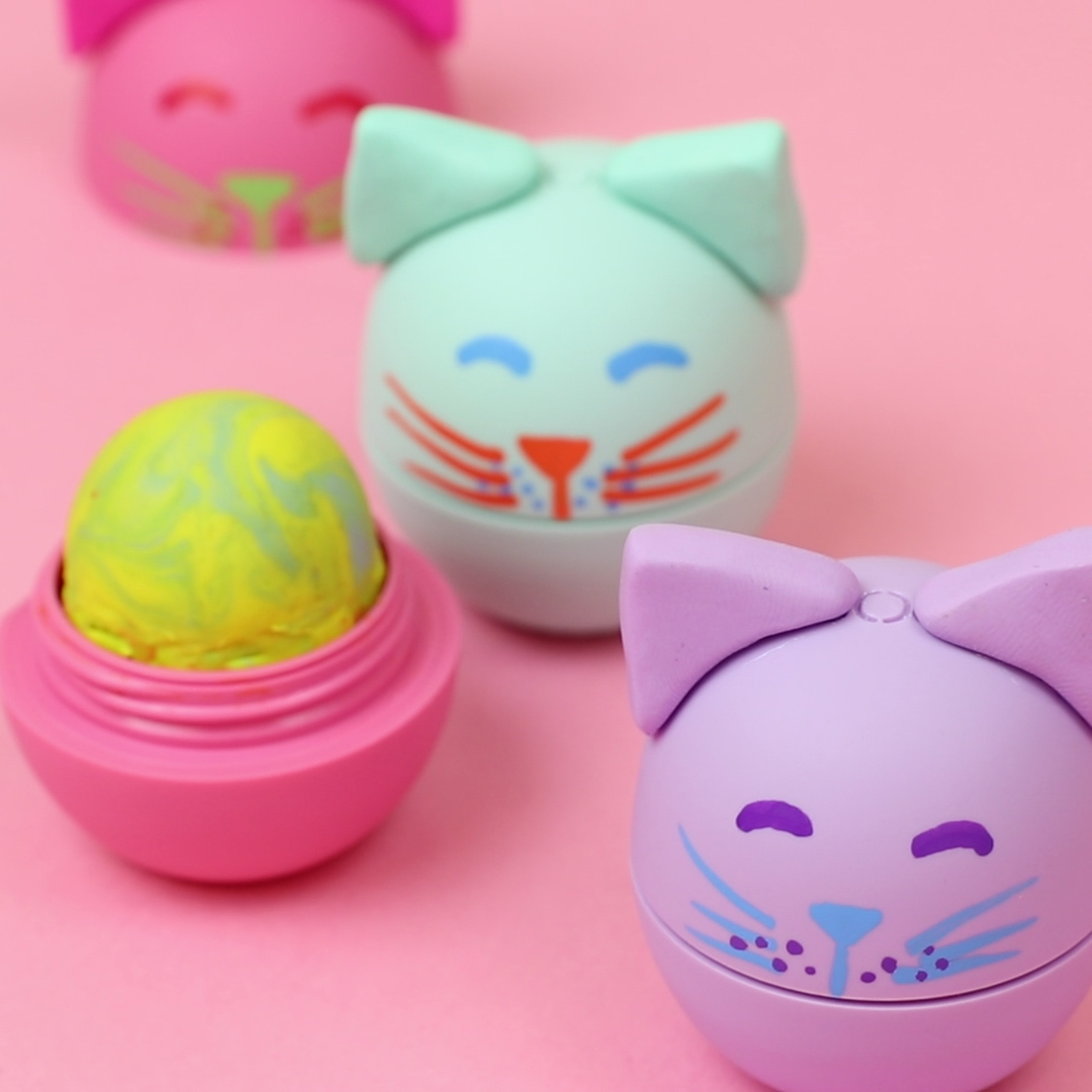 This DIY cat eraser will turn your old lip balm container into your cutest school supply