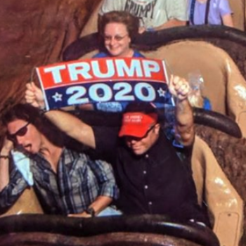 "A Trump supporter was banned from Disney World for carrying a ""Trump 2020"" sign on Splash Mountain"