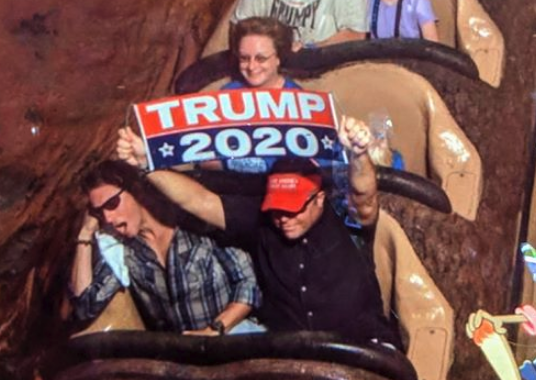 """A Trump supporter was banned from Disney World for carrying a """"Trump 2020"""" sign on Splash Mountain"""