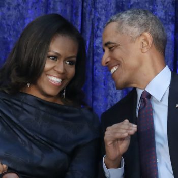 Barack Obama surprised Michelle Obama during her book tour—and brought flowers