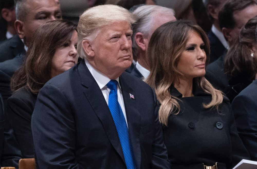 It looks like Trump snubbed the Clintons at George H. W. Bush's funeral, and Twitter is on fire