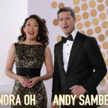 Sandra Oh and Andy Samberg are freaking comedy gold in these new Golden Globes promos