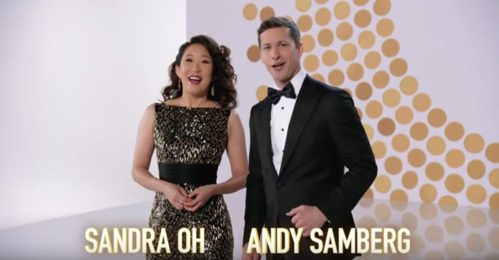 Sandra Oh and Andy Samberg are comedy gold in these new Golden Globes promos