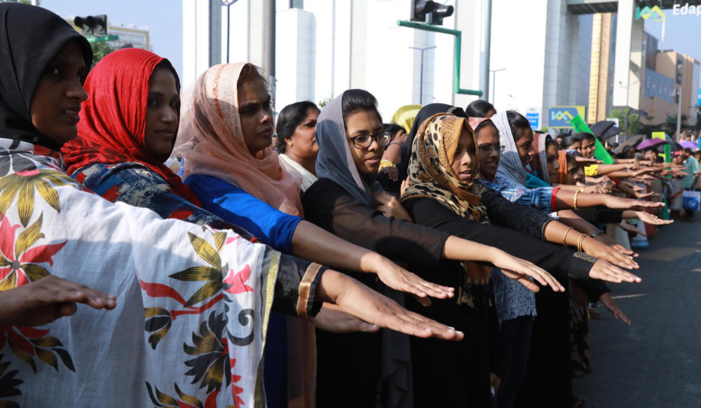 5 million women in India formed a human chain to protest gender inequality at a major shrine