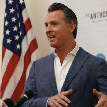 The governor of California's 2-year-old son kept interrupting his inaugural speech, and the adorable video has gone viral