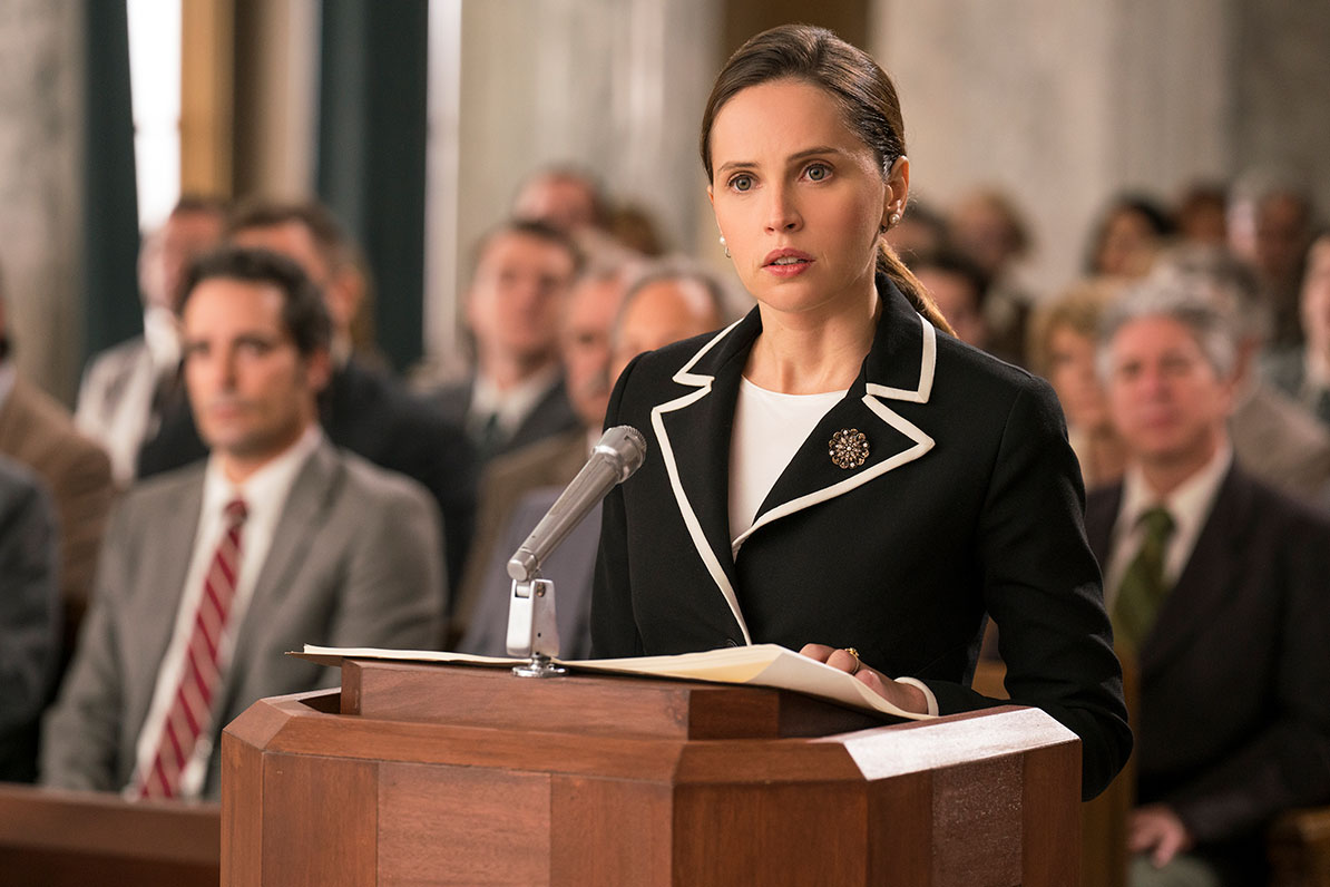 Felicity Jones talks becoming Ruth Bader Ginsburg in <em>On the Basis of Sex</em>—and RBG's crush on Armie Hammer