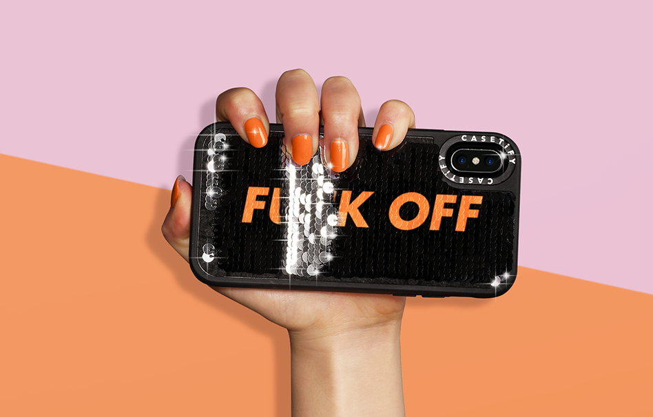 This clever sequin phone case lets you customize your own secret message