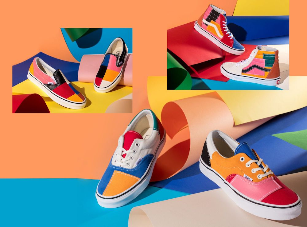 The Vans Patchwork Pack collection is a '70s-inspired colorblock dream