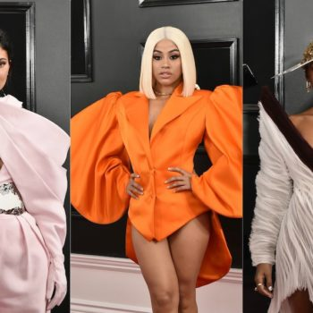 At the Grammys red carpet, giant-ass shoulder gowns reigned supreme