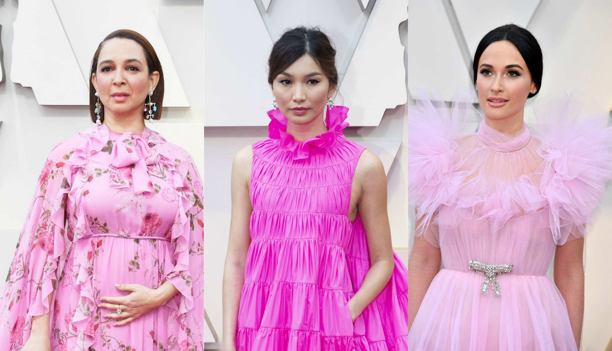 Pretty in pink gowns were all over the 2019 Oscars red carpet, because black is <em>so</em> yesterday